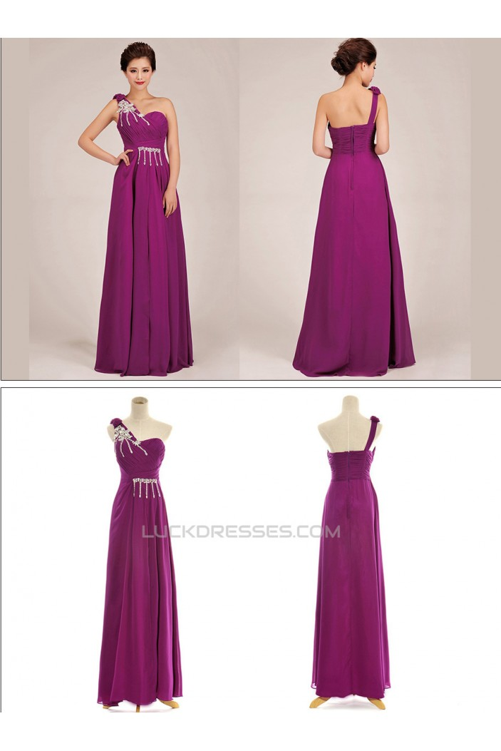 A-Line One-Shoulder Beaded Long Purple Chiffon Prom Evening Formal Dresses ED011246