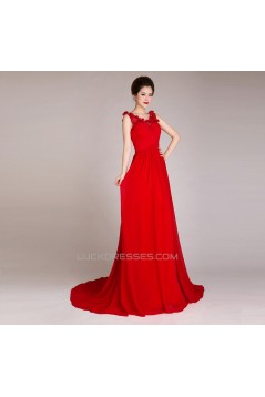 A-Line Beaded Long Red Chiffon Prom Evening Formal Dresses ED011247