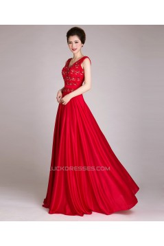 A-Line V-Neck Beaded Long Red Prom Evening Formal Dresses ED011248