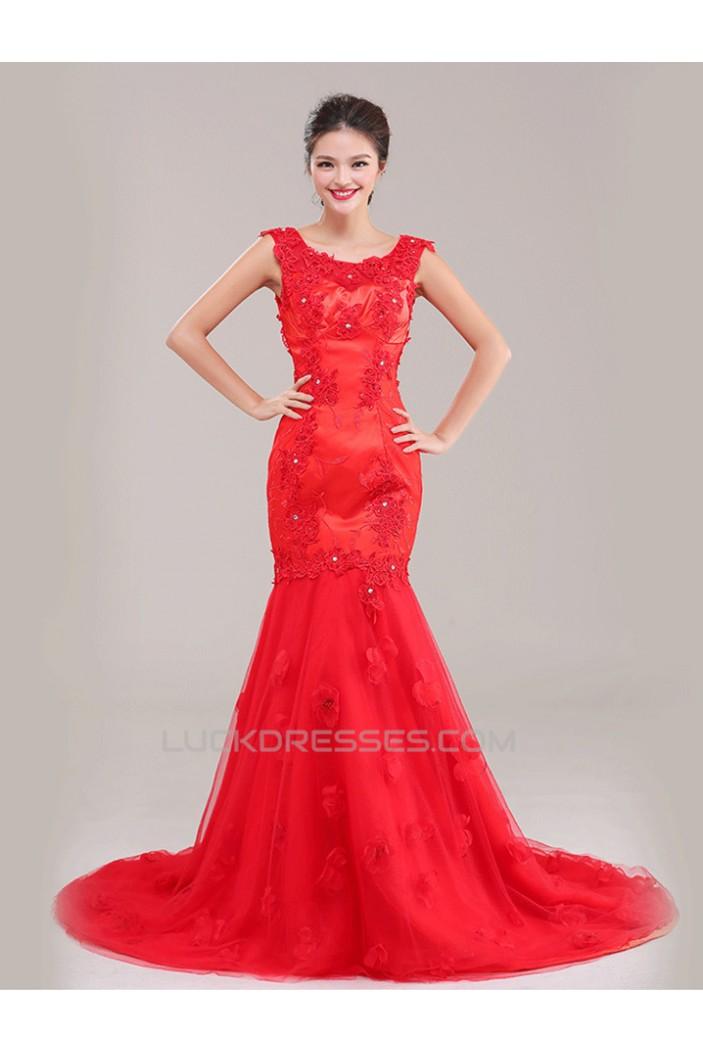 Trumpet/Mermaid Beaded Applique Long Red Prom Evening Formal Dresses ED011249