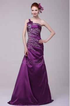 Long Purple Beaded One-Shoulder Prom Evening Formal Party Dresses ED010125