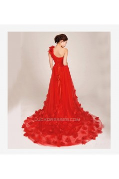 A-Line One-Shoulder Long Red Tulle Prom Evening Formal Dresses ED011250