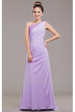 A-Line One-Shoulder Beaded Long Chiffon Prom Evening Formal Dresses ED011251