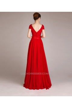 A-Line Cap-Sleeve Beaded Long Red Chiffon Prom Evening Formal Dresses ED011252