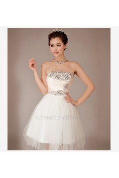 A-Line Strapless Beaded Short Tulle Prom Evening Formal Dresses ED011254