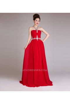 A-Line Halter Beaded Long Red Chiffon Prom Evening Formal Dresses ED011256