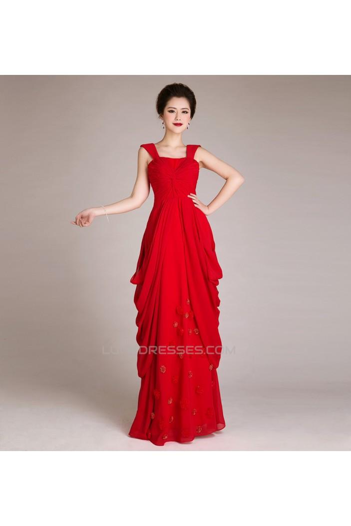 Sheath/Column Straps Sleeveless Long Red Chiffon Prom Evening Formal Dresses ED011257