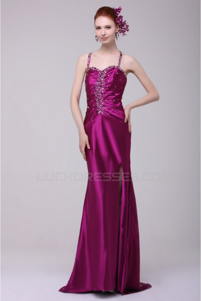 Long Purple Beaded Spaghetti Strap Prom Evening Formal Party Dresses ED010126