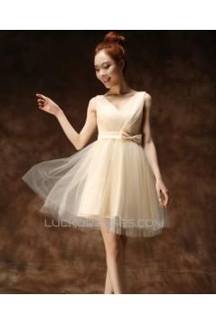 A-Line V-Neck Short Tulle Prom Evening Bridesmaid Dresses ED011264