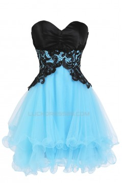 Modest Sweetheart Short Black Blue Prom Evening Cocktail Dresses ED011267