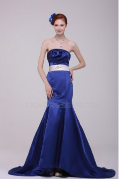 Trumpet/Mermaid Strapless Long Blue Prom Evening Formal Party Dresses ED010127