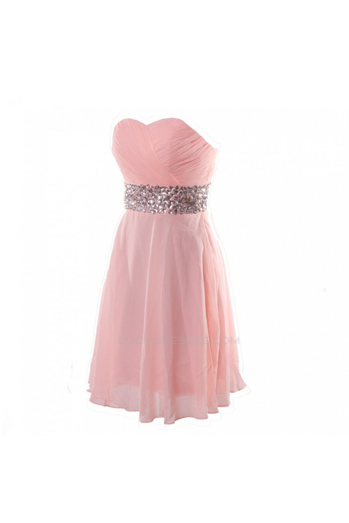 A-Line Sweetheart Beaded Short Pink Chiffon Prom Evening Formal Dresses ED011272