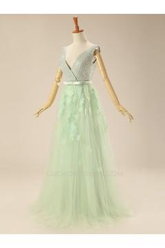 A-Line Beaded V-Neck Prom Evening Formal Dresses ED011273
