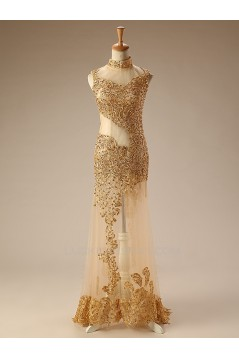 High-Neck Gold Beaded Long Prom Evening Formal Dresses ED011277