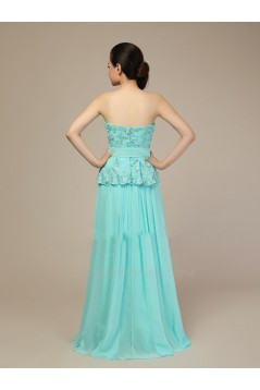 A-Line Sweetheart Beaded Long Blue Chiffon Prom Evening Formal Dresses ED011279