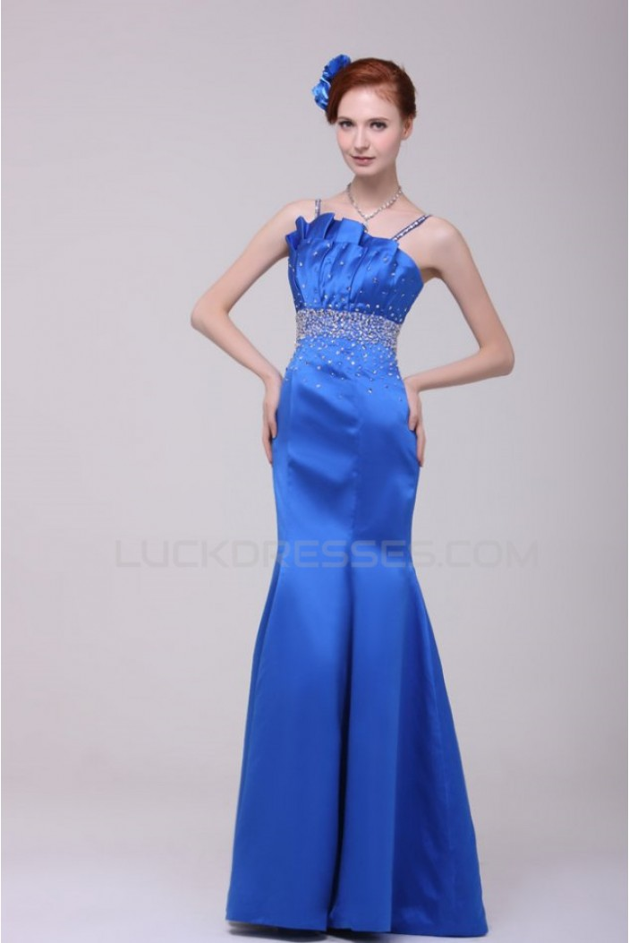 Trumpet/Mermaid Beaded Long Blue Prom Evening Formal Party Dresses ED010128