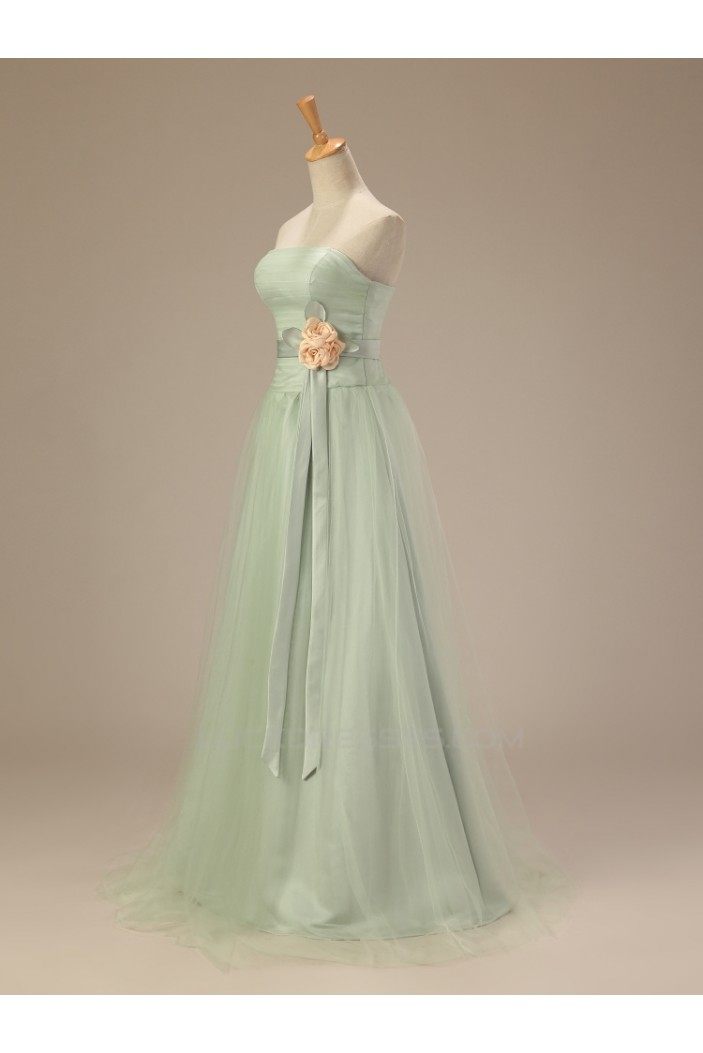 A-Line Strapless Long Prom Evening Formal Dresses ED011282