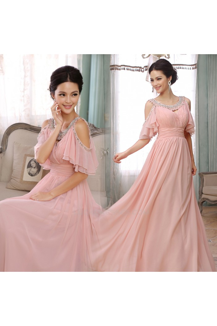 A-Line Beaded Long Pink Chiffon Prom Evening Formal Dresses ED011284