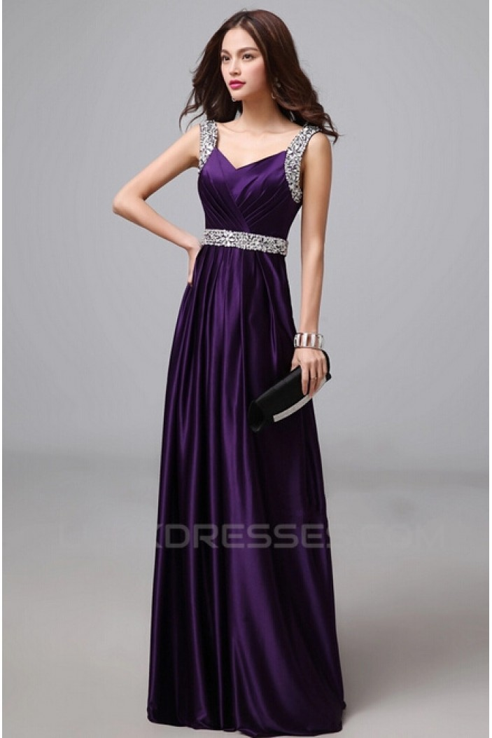A-Line Beaded Long Purple Prom Evening Formal Dresses ED011285