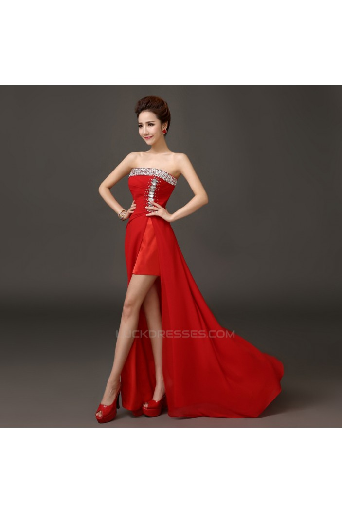 Split-Front Strapless Beaded Red Chiffon Prom Evening Formal Dresses ED011286