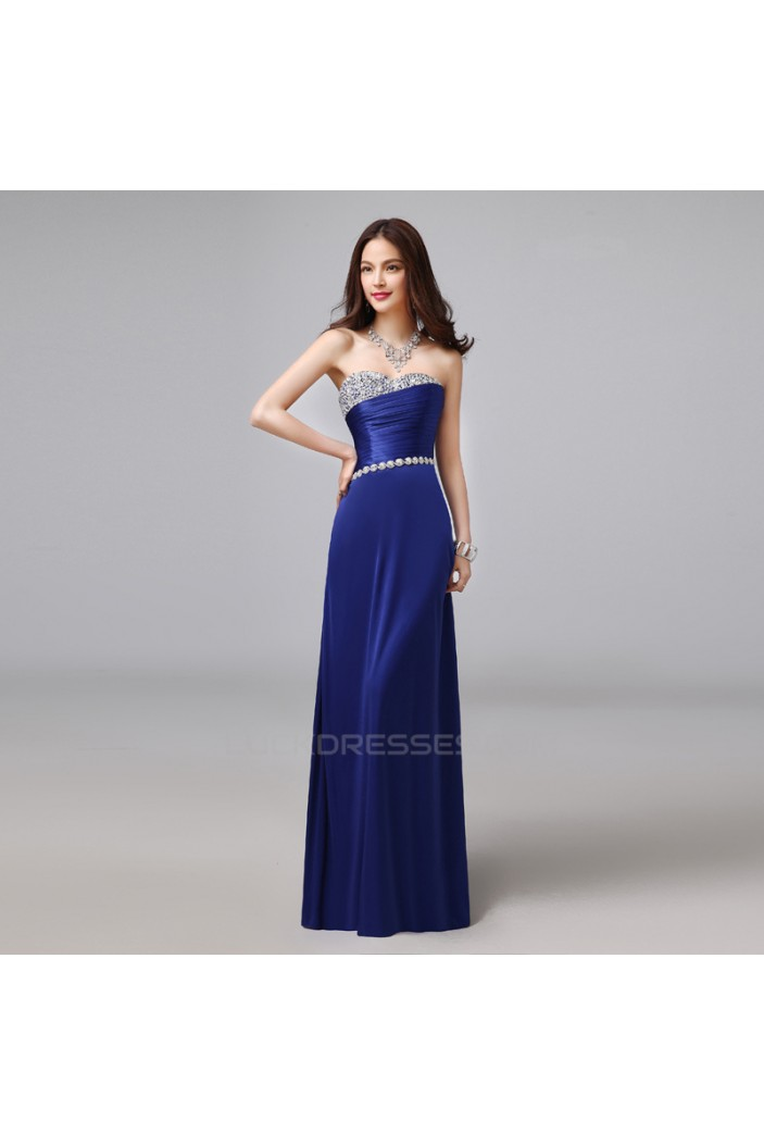 A-Line Sweetheart Beaded Long Blue Prom Evening Formal Dresses ED011287