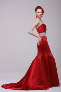 Trumpet/Mermaid Strapless Long Red Prom Evening Formal Party Dresses ED010129