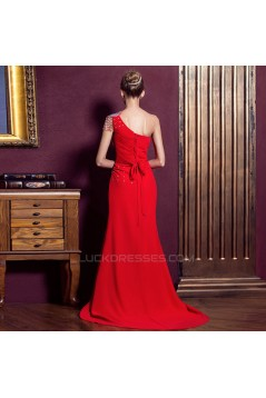 One-Shoulder Beaded Long Red Chiffon Prom Evening Formal Dresses ED011291