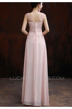 A-Line Beaded Applique Long Pink Chiffon Prom Evening Formal Dresses ED011292