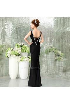Trumpet/Mermaid V-Neck Beaded Long Black Prom Evening Formal Dresses ED011293