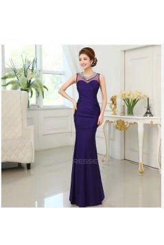Trumpet/Mermaid Beaded Long Purple Prom Evening Formal Dresses ED011296