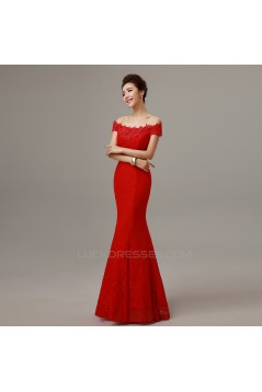 Trumpet/Mermaid Off-the-Shoulder Long Red Lace Prom Evening Formal Dresses ED011297