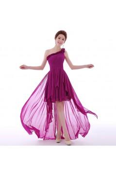 High Low One-Shoulder Short Purple Chiffon Prom Evening Formal Dresses ED011298