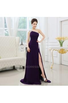 A-Line One-Shoulder Beaded Long Prom Evening Formal Dresses ED011300
