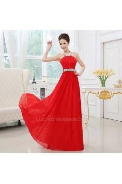 A-Line Halter Beaded Long Red Chiffon Prom Evening Formal Dresses ED011301