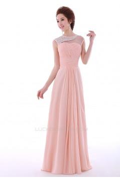 A-Line Beaded Long Pink Chiffon Prom Evening Formal Dresses ED011302