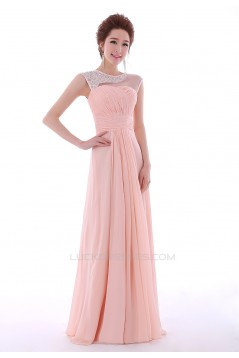 A-Line Beaded Long Pink Chiffon Prom Evening Formal Dresses ED011302