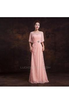 Elegant Long Pink Lace Beaded Prom Evening Formal Dresses ED011303