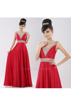 A-Line Beaded Long Prom Evening Formal Dresses ED011304