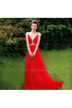 A-Line Beaded Long Pink Chiffon Prom Evening Formal Dresses ED011305