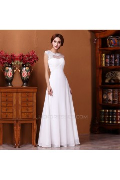 A-Line Beaded Long White Prom Evening Formal Dresses ED011306