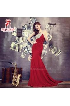Elegant One-Shoulder Beaded Long Red Chiffon Prom Evening Formal Dresses ED011307
