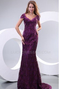 Trumpet/Mermaid Long Purple Lace Prom Evening Formal Party Dresses ED010131