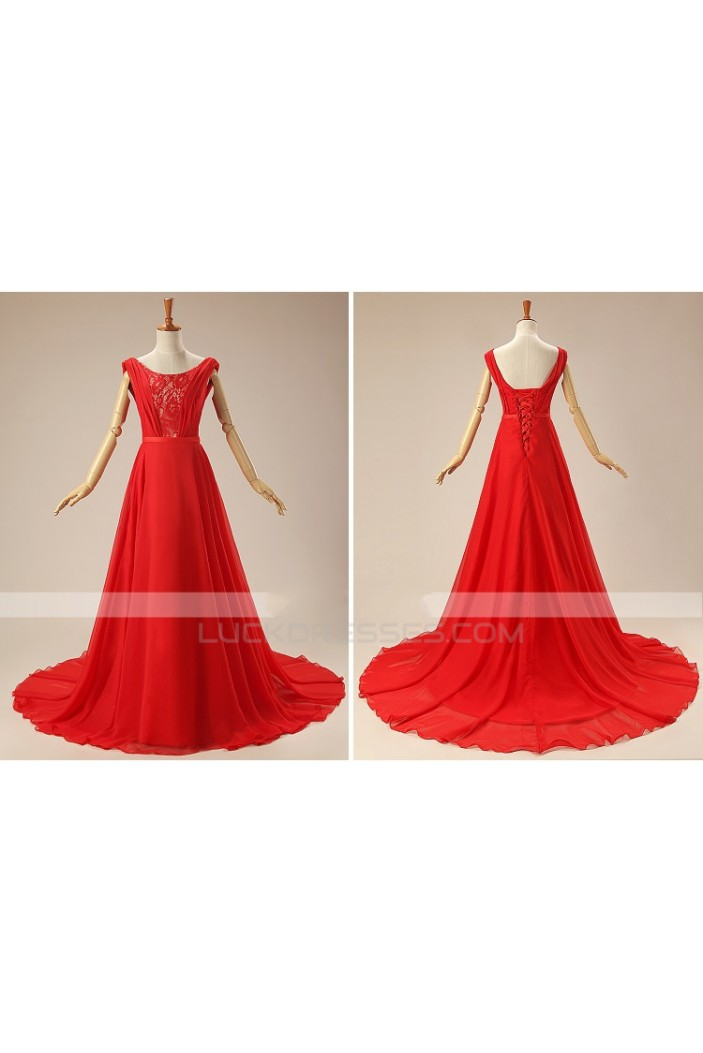 A-Line Long Red Lace and Chiffon Prom Evening Formal Dresses ED011310