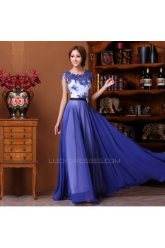 A-Line Long Blue Chiffon Prom Evening Formal Dresses ED011311