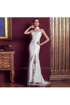 Trumpet/Mermaid High-Neck Beaded Long White Applique Prom Evening Wedding Dresses ED011312