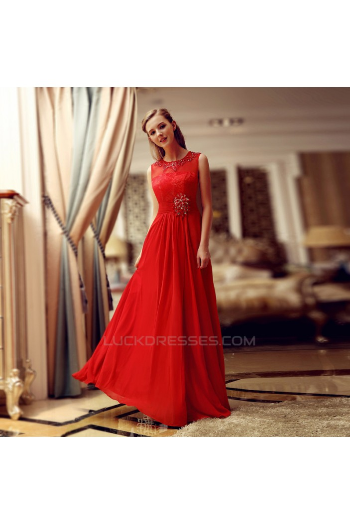 A-Line Jewel Beaded Long Red Lace and Chiffon Prom Evening Formal Dresses ED011314