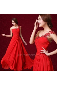 A-Line One-Shoulder Beaded Applique Long Red Chiffon Prom Evening Formal Dresses ED011315
