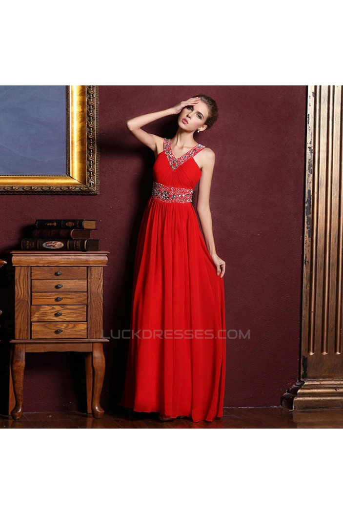 A-Line V-Neck Beaded Long Red Chiffon Prom Evening Formal Dresses ED011316