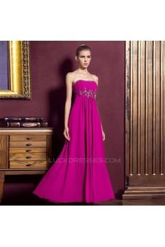 Empire Strapless Beaded Long Chiffon Prom Evening Maternity Evening Dresses ED011317