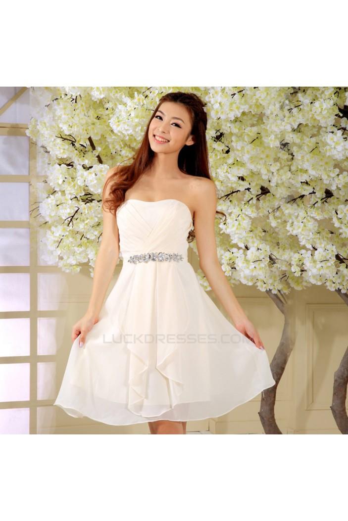 A-Line Strapless Beaded Short Chiffon Prom Evening Formal Dresses ED011318